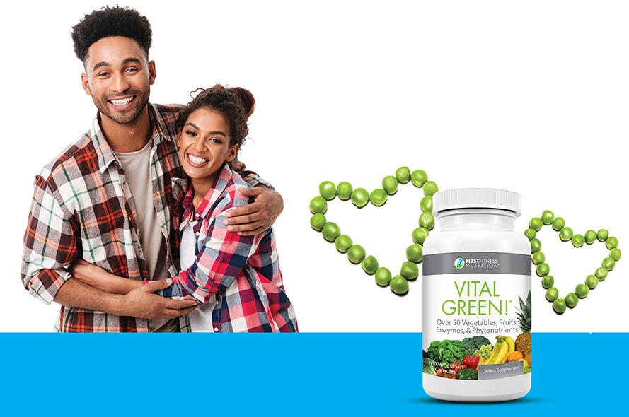 man and woman hugging and smiling in matching plaid shirts along with peas in the shape of hearts